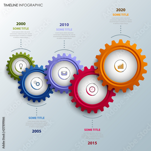 time line info graphic with colorful design gears template stock
