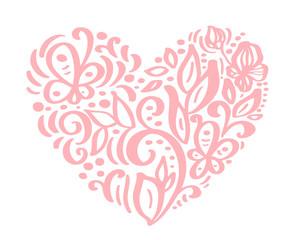 Hand drawn heart love valentine flowers separator. Calligraphy designer elements flora. Vector vintage wedding illustration Isolated on white background frame, hearts for your design