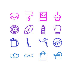 Vector illustration of 16 hobby icons line style. Editable set of cupcake, rugby, tube and other icon elements.