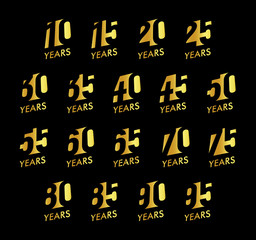 Anniversary vector numbers set. Birthday celebration logo collection. Golden years signs on black background. Jubilee design illustration.