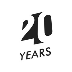 Twenty years vector emblem template. Anniversary symbol, negative space design. Jubilee black color icon. Happy 20th birthday, abstract illustration.
