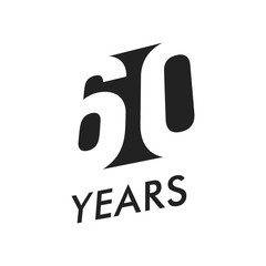Sixty five years vector emblem template. Anniversary symbol, negative space design. Jubilee black color icon. Happy 60th birthday, abstract illustration.