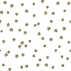 Gold star seamless pattern. Vector