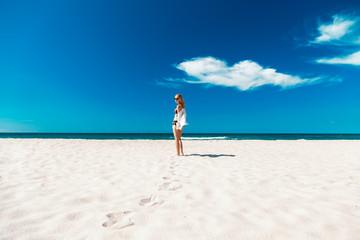 woman on sea beach