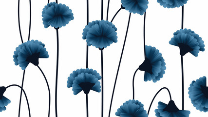Seamless pattern, dark blue carnation flowers with branch on light blue background