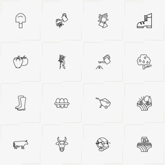 Farm line icon set with combine harvester, gloves and boots
