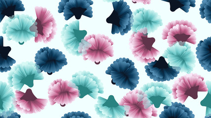 Seamless pattern, blue, pink and cyan carnation flowers on light blue background