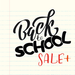 Hand sketched Back to school SALE plus lettering on a sheet from school notebook. Flat scratched Vector illustration. Sale banner template design, Big sale special offer.