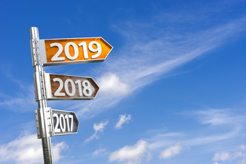 2019 direction sign with sky background. New year concept. 3D Rendering