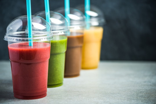 Colorful smoothie selection, selective focus, food background
