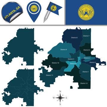 Map of Atlanta, GA with Districts