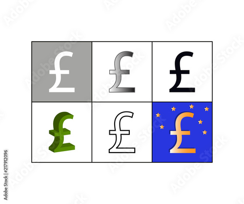Set Of Icons With Pound Currency Symbol Stock Image And Royalty