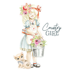 Cute watercolor farm, country girl with field flowers wreath, floral bouquet, tied bow and bucket with flowers and a cute kitten