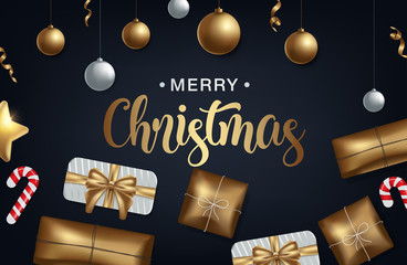 vector illustration of merry christmas 2018 gold and black collors place for text christmas balls