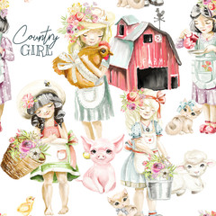 Cute watercolor farm animals with country girls with flowers and tied bows. Pig, sheep, kitten, bucket and basket with bouquets
