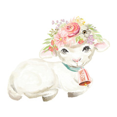 Cute watercolor sheep with bell and floral, flowers bouquet, wreath