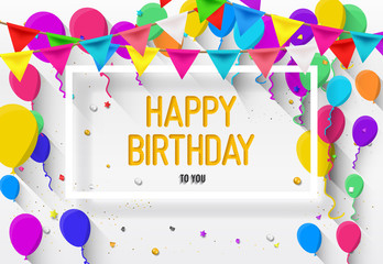 Happy Birthday Greeting Card with colorful balloons and confetti. Colorful balloons vector graphic. Vector Illustration of a Happy Birthday Greeting Card Design. Flat style concept.