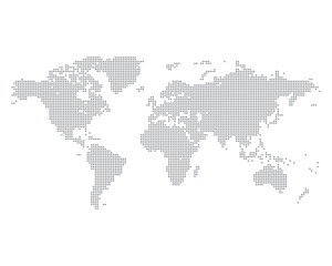 World map made of gray dots, vector illustration