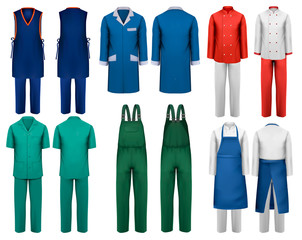 Set of overalls with worker and medical clothes. Design template. Vector illustration. - fototapety na wymiar