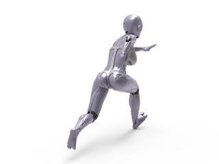 Robotic Cyber Woman is running 3D Rendering