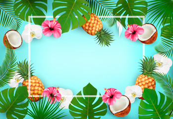 Summer tropical background with exotic palm leaves and flowers and a coconut. Vector