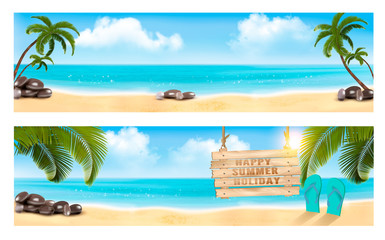 Summer vacation panorama. Two banners with beach and palm tree and blue sea. Vector.