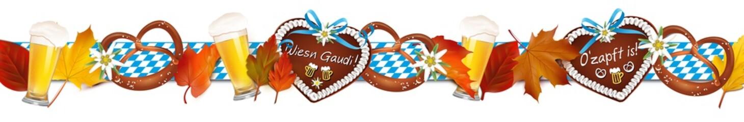 Oktoberfest Dekoration mit Lebkuchen, Herbstblätter, Brezeln, Bier und Rauten Banner