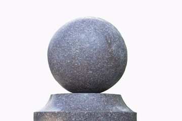 granite ball on a stand, round stone, isolate, white background, Yekaterinburg, 14.08.18