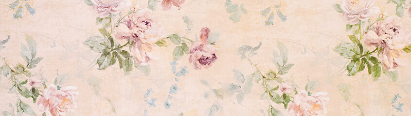 Banner - Vintage paper with roses - web header template - website simple design