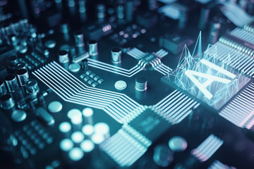 3D illustration abstract artificial intelligence on a printed circuit board. Technology and engineering concept. Neurons of artificial intelligence. Electronic chip, head processor.