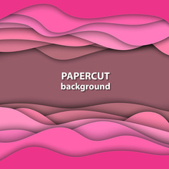 Vector background with pink color paper cut shapes. 3D abstract paper art style, design layout for business presentations, flyers, posters, prints, decoration, cards, brochure cover.