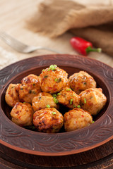 Thai chili chicken meatballs with sauce