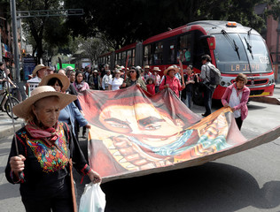 People demonstrate demanding the paralyzation of the construction of Mexico City's new airport in Mexico City