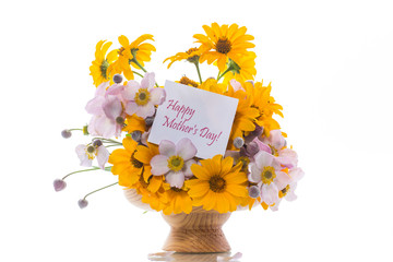 bouquet of yellow big daisies isolated on white