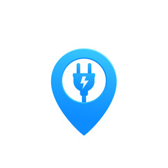 electric plug with pin vector icon
