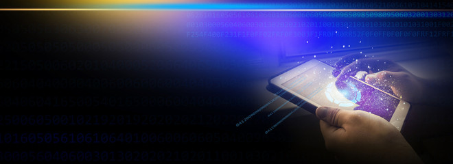 A tablet in the hands of a man, Neon glow of the screen. A dark background, close-up. Additional reality, holographic display, rays of light, magic.