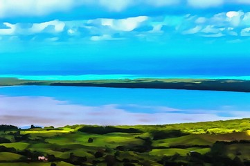 Hand drawing watercolor art on canvas. Artistic big print. Original modern painting. Acrylic dry brush background.Bright summer landscape. Wonderful warm tropical view. Azure water. Blue sky.