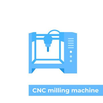 milling machine, cnc vector illustration