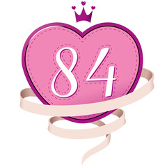 Pink Heart with a Crown, Ribbon and Number 84