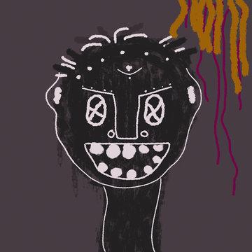 little child abstract art of Basquiat
