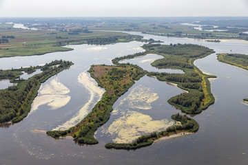 Printed kitchen splashbacks River Aerial view estuary Dutch river IJssel with small islands and wetlands in lake Ketelmeer