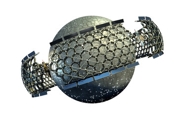 Spaceship with a planetary sphere surrounded by a geodesic structure