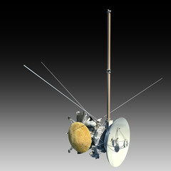 Unmanned spacecraft or satellite orbiter with clipping path