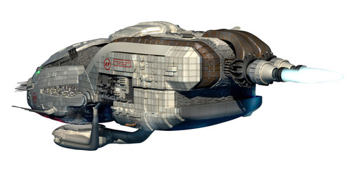 Futuristic military spacecraft with clipping path