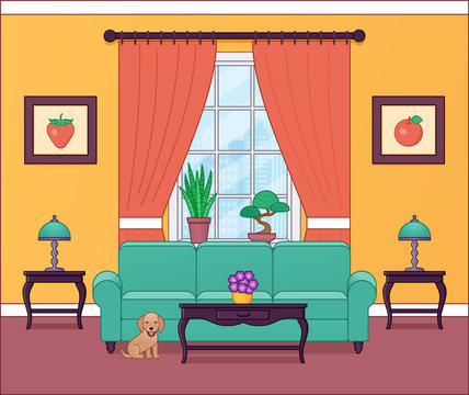 Living room interior. Vector illustration. Outline home flat design with furniture, window, dog. Cartoon house equipment. Linear lounge background.