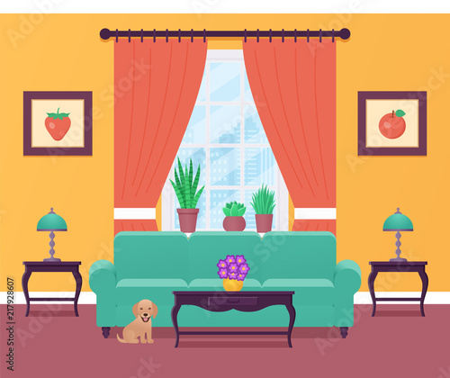 "Living Room Background Animated: ""Living Room Interior. Vector Illustration. Home Flat"