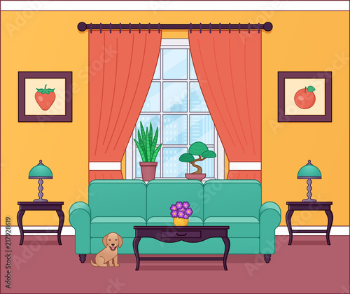 "Living Room Background Animated: ""Living Room Interior. Vector Illustration. Outline Home"