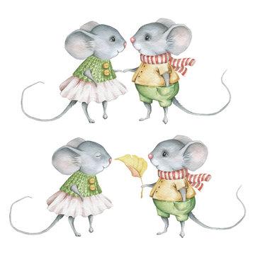 Cute little mice. Watercolor