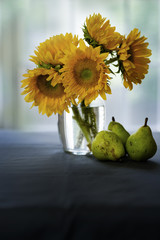 Sun flowers in a vase