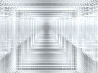 Abstract futuristic portal - digitally generated white image